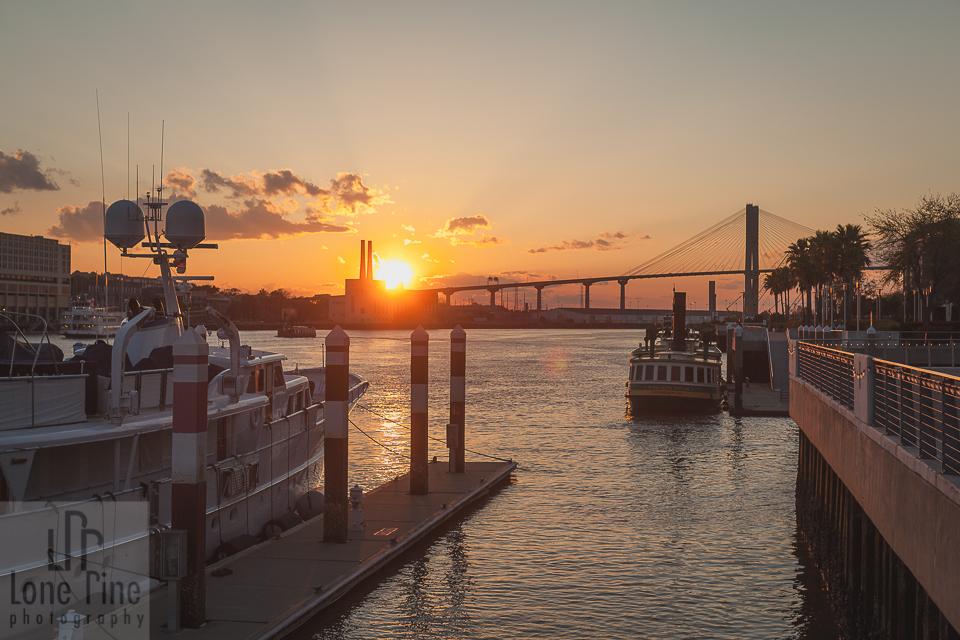 Sunset over Talmadge Bridge in Savannah