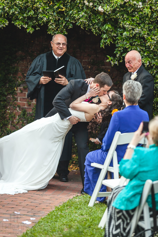 Savannah wedding photographer Bride and Groom first wedding kiss